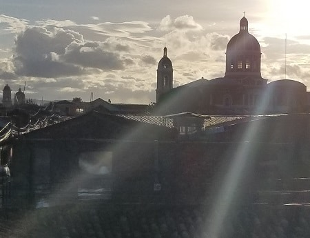 sunlight streaming over Granada cathedral