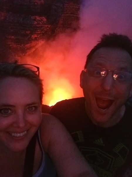 Ray and Lisa in front of lava pool
