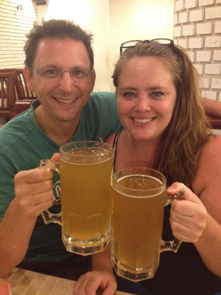 Ray and Lisa with giant beers